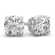 Platinum 3/4 Carat Diamond Stud Earrings ($1,925) ❤ liked on Polyvore featuring jewelry, earrings, diamond earrings, platinum stud earrings, diamond jewelry, diamond stud earrings and platinum earrings