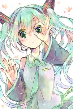 Anime. Anime Girl. Hatsune Miku. Kawaii. Vocaloid. Blush. Blue Eyes. Long Teal Hair. Long Blue Hair. Twin-Tails. Pigtails.
