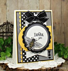 Hello Everyone!Today, I'm over on the Sweet 'N Sassy Stamps blog sharing a Thank You card featuring the Sweet as Honey stamp set. As you can see I love incorporating lots of layers and dimension on