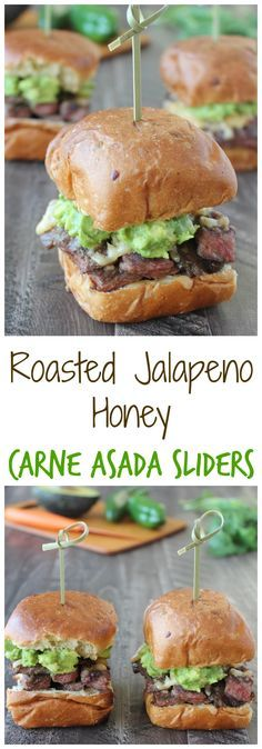 Roasted Jalapeño Honey Grilled Carne Asada + Honey + Melty Spicy Cheese + Fresh Guacamole + King's Hawaiian Jalapeño Rolls = Best Sliders Ever! Mexican Food Recipes, Beef Recipes, Cooking Recipes, Burger Recipes, Thai Recipes, Recipies, Carne Asada, Slider Sandwiches, Sliders Burger