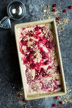 Cranberry Spiced Nice Cream. Full of Winter spices and warm flavours, this nice cream makes a perfect vegan dessert!