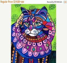 50% OFF Storewide- Maine Coon Cat Art Poster Print of painting by Heather Galler (HG596)