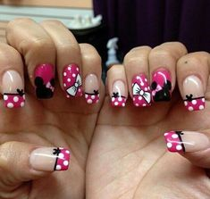 23 Disney Nail Art Designs - Madame Hairstyles - Minnie Mouse girl Minnie Mouse girl Minnie Mouse girl Welcome to our website, We hope you are satis - Mickey Nails, Minnie Mouse Nails, Pink Minnie, Disney Nails Art, Disney World Nails, Mickey Mouse Nail Art, Art Disney, Disney Diy, Disney Nail Designs