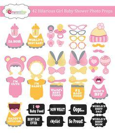 DESCARGAR 42 divertida niña bebé ducha cabina apoyos de la foto - color de rosa, amarillo y gris - instantáneos - bricolaje Pdf imprimible