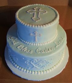 First Communion - The is a baptism cake made with crusting buttercream frosting with pearl accents - Picmia