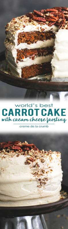Learn how to make the world's best carrot cake! This recipe is so simple but has the absolute best flavor and perfectly moist texture, piled high with the most heavenly, fluffy and rich cream cheese frosting. | lecremedelacrumb.com