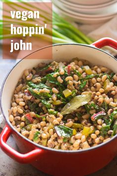 This vegan hoppin' John is made with smoky simmered black-eyed peas, spices and chard. Perfect for New Year's, or pretty much any day of the year! A healthy and delicious dinner that's easy to make! Chard Recipes, Pea Recipes, Vegan Dinner Recipes, Vegan Dinners, Vegetarian Recipes, Healthy Recipes, Copycat Recipes, Yummy Recipes, Soups