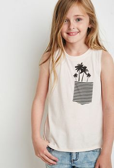 Palm Tree-Pocket Muscle Tee (Kids) | Forever 21 girls - 2000173523