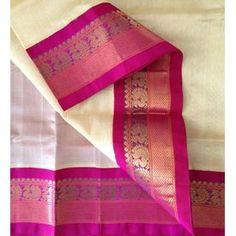 SC2500030-VARNAM Handwoven Korvai Silkcotton-Cream pink, 700g Elegant Dresses Classy, Classy Dress, India Fashion, Asian Fashion, Kasavu Saree, Saree Blouse Neck Designs, Indian Couture, Traditional Looks, Pure Silk Sarees