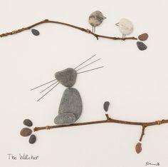 Kunst Pebble Katze Bild Kätzchen Wandkunst Katze