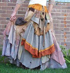 TERRA ~ AuraGaia ~ tattered poorgirl earthy organic skirt...bustleback, underskirt & overskirt, faux corset front; ruffles, layers, upcycled, overdyed, silk, homespun, linen, silk, cotton, lace, paisley, taupe, marigold, rust, brass buttons, tan, brown, rayon, ramie, tribal.