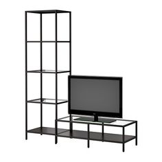 VITTSJÖ TV storage combination IKEA Tempered glass and metal. Hardwearing materials that give an open, airy feel. Living Room Furniture Sofas, Coffee Table Inspiration, Ikea Tv Stand, Apartment Living Room, Tv Cabinet Ikea, Tv Storage, Ikea, Ikea Vittsjo, Living Room Storage