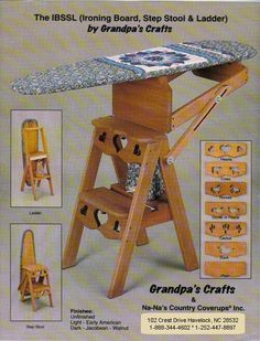 Grandpa's Crafts: a small business that sells wooden ironing board/step stools and wooden picket fence shelves. Woodworking Projects That Sell, Diy Wood Projects, Diy Woodworking, Folding Furniture, Furniture Plans, Cool Furniture, Wooden Ironing Board, Wooden Steps, Iron Board