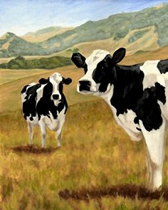 """Holstein Heaven on Earth (Custom Cow Painting) by Denise Rich Oil ~ 36"""" x 24"""""""