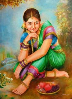 Indian Women Painting, Indian Art Paintings, Indian Artist, Rajasthani Painting, Indian Art Gallery, Tanjore Painting, Oriental, Anime Art Girl, Pictures To Draw