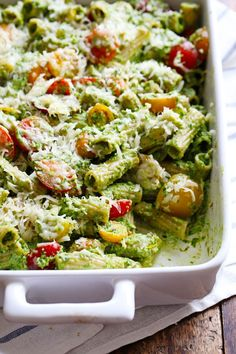 This Healthy Baked Pesto Rigatoni is tossed with heirloom tomatoes and a saucy spinach pesto - (used lbs. pasta and two pkgs. of store-bought pesto) MADE THIS - DELICIOUS! Healthy Pesto, Healthy Baking, Vegan Baking, Vegetarian Recipes, Cooking Recipes, Healthy Recipes, Vegan Meals, Vegan Desserts, Pasta Casera
