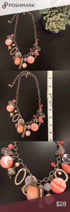Lia Sophia Coral Statement Necklace Lia Sophia Coral and pink statement necklace Like new condition Lia Sophia Accessories