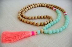 Tassel Necklace - Boho Sea Mist and Natural Wood