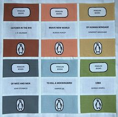 Quilt blocks of Penguin books made from fabric. Incredible idea