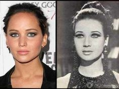 """Celebrity """"twins"""": Jennifer Lawrence and Zubaida Tharwat. An Egyptian actress, Tharwat was born in Alexandria in 1940 and retired from acting in the late 1990 Jennifer Lawrence was born. Jennifer Lawrence, Andrew Garfield, Amy Winehouse, Egyptian Actress, Celebrity Look, Celebrity Twins, Celebrity Doppelganger, Celebrity Photos, Past Life"""