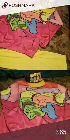 Cindy Lou sweatshirt 1xl & hello leggings sz L Cindy Lou sweatshirt says 3xl fits like 1xl & yellow capri leggings sz L Sweaters Crew & Scoop Necks
