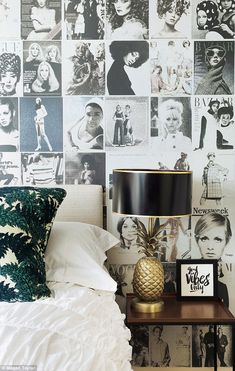 'This wallpaper pattern by Mr Perswall (mrperswall.co.uk) is great for a teenage girl's bedroom – and 15-year-old Lola has given it her seal of approval,' says Jane. The lamp is by Rockett St George