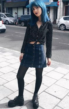 Black polka dot shirt with denim skirt, tights & platform boots by emilinalove