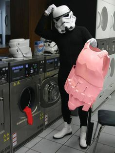 Storm Trooper laundry problems #starwars #stormtroopers #redsockdisasters