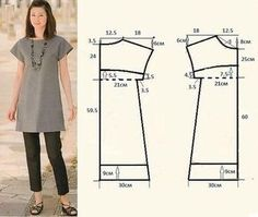 Ideas For Diy Easy Sewing Projects Costura Dress Sewing Patterns, Sewing Patterns Free, Sewing Tutorials, Clothing Patterns, Free Pattern, Fashion Patterns, Tunic Pattern, Top Pattern, Simple Dress Pattern