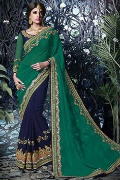 Pine Green and Midnight Blue Faux Georgette Embroidered Party Saree Sku Code:223-5345SA722883 http://www.sareez.com/product_info.php?cPath=94_95_100&products_id=167276
