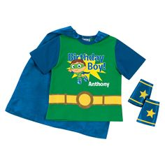 The Official PBS KIDS Shop | Super Why! Birthday Boy Green Super Tee & Cuff Set