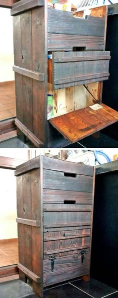 Are you curious about the virgin indoor and outdoor pallet projects ideas that would stuff your home with stunning furniture? Diy Pallet Couch, Pallet Wall Decor, Pallet Walls, Pallet Shelves, Pallet Furniture, Furniture Projects, Pallet Cupboard Ideas, Pallet Boxes, Pallet Side Table