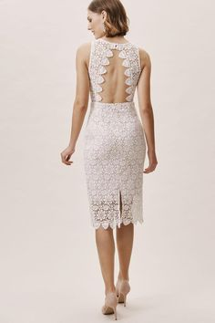 Allover ivory lace tops a blush lining, giving this classic sheath dimensional color; scalloped trim, an open back, and an illusion neckline complete the feminine look. By BHLDN. Fits true to size; take your normal size. Backless strapless bra-friendly Back zip Brand new, without tags. Size Small. Retail price: $180.  |  Tradesy is the leading used luxury fashion resale marketplace | 100% AUTHENTIC, OR YOUR MONEY BACK | We have a zero-tolerance policy for replicas. Our authentication rate is… Asos Wedding Dress, Courthouse Wedding Dress, Wedding Dress Sizes, Designer Wedding Dresses, Civil Wedding Dresses, Elegant Dresses, Formal Dresses, Sexy Dresses, Long Dresses