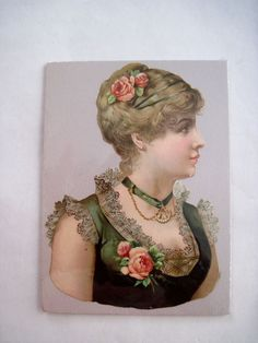 Gorgeous Victorian Die-Cut of Woman Profile Wearing Roses w/ Lace Trimmed Dress
