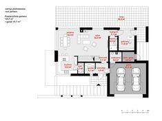 Rzut CPT Koncept 37 CE Modern Minimalist House, Modern House Design, Construction, Modern Architecture, Planer, House Plans, Floor Plans, How To Plan, Houses