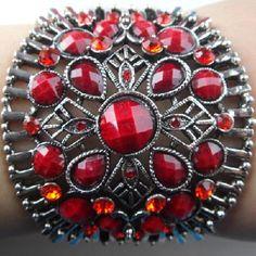 Beautiful Bold Retro Style Red Rhinestone Agate Cuff Bracelet