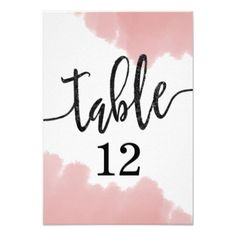 #Peach Coral Watercolor Strokes Table Numbers - #weddinginvitations #wedding #invitations #party #card #cards #invitation #simple