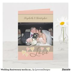 Wedding Anniversary mocha and blush with name Card Wedding Anniversary Greeting Cards, Happy Anniversary, Name Photo, Photo S, Custom Greeting Cards, Name Cards, Holiday Photos, Thoughtful Gifts, Love Heart