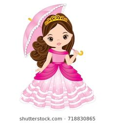 Encontre vetores stock de Vector beautiful princess in pink dress holding umbrel. Clipart Baby, Desenho Kids, Digital Stamps Free, Picture Borders, Drawing Lessons For Kids, Birthday Backdrop, Disney Princess Dresses, American Girl, Cute Little Girls