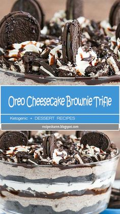 Oreo Cheesecake Brownie Trifle - layers of chewy brownie, oreo cheesecake, whipped cream, chocolate sauce and more Oreos! Oreo Trifle, No Bake Oreo Cheesecake, Chocolate Trifle, Trifle Desserts, Trifle Recipe, Baileys Trifle, Pudding Desserts, Brownie Oreo, Chewy Brownies