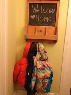 Just the right height for little ones to hang coats after school. Coat rack chalkboard combo.