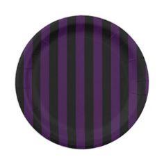 Purple u0026 Black Stripes Halloween Party Paper Plate - chic design idea diy elegant beautiful stylish  sc 1 st  Pinterest & Personalized Birthday Candles Paper Plates - birthday gifts party ...