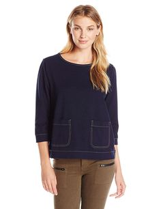Sag Harbor Women's Knit Denim 2 Pocket Top -- Check out this great image  : Fashion