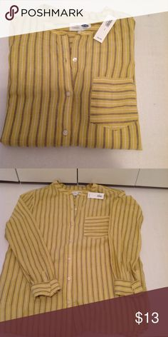 Brand new, Old Navy striped button down top Cotton, striped yellow gold button down blouse. Brand new, never worn Old Navy Tops Button Down Shirts