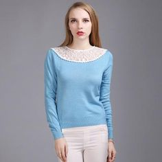 Suvance Lace Stitching Sexy Long Sleeves Slim Knitted Thin Pullovers Quality Brand Women Sweaters