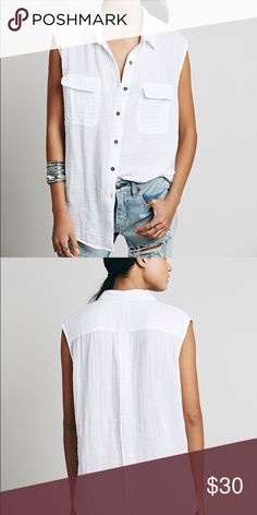 Free people sleeveless washed button down tank Perfect for summer or spring, it's light, and flattering! I love to dress it down with a swimsuit or dress it up with black jeans and booties Free People Tops Tank Tops