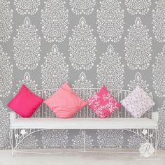 Allover Damask Persian Garden Wall Stencil