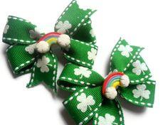 Girls St. Patricks Day Hair Bows by KawaiiBits on Etsy, $7.50