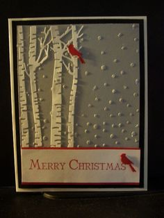 Sizzix embossing folder-SNOWFALL, IO BIRCH TREES DIE, STAMPN Up MERRY CHRISTMAS  #Sizzix