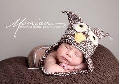 Newborn size owl hat